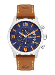 Timberland Westborough Analog Leather Watch for Men, Water Resistant with Chronograph, Brown-Blue, T TBL15633JS-03