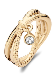 Cerruti 1881 Gold Plated Stainless Steel Fashion Ring for Women with Dongle and Diamond Stone, Gold, EU 56