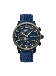 Police Bromo Silicon Watch for Men, Water Resistant with Chronograph, Blue, P 15657JSBU-03P