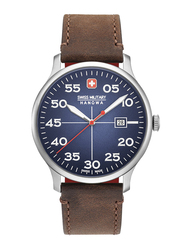 Swiss Military Hanowa Active Duty Analog Watch for Men with Leather Band, Water Resistant, W S6-4326.04.003, Dark Brown-Dark Blue