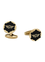 Police Mens Cufflinks, Stainless Steel, Gold Plated/Black