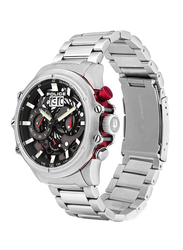 Police Luang Analog Watch for Men with Stainless Steel Band, Water Resistant with Chronograph, P 16018JS-13M, Silver-Grey