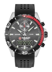 Swiss Military Hanowa Multimission Analog/Digital Watch for Men with Silicone Band, Water Resistant, W S6-4298.3.04.009, Black