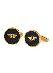 Police Ss20 Mantar Mens Cufflinks, Metal, Gold Plated/Black