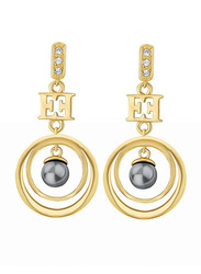 Escada Gold Plated Drop & Dangle Earrings for Women with Swarovski Stone, Gold
