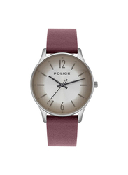 Police Makati Analog Leather Watch for Women, Water Resistant, Silver-Brown, P 15574MS-04