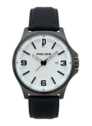 Police Clan Analog Watch for Men with Leather Band, Water Resistant, P 15384JSU-04, Black-White