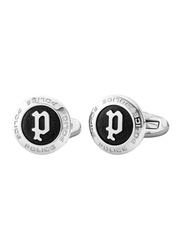 Police Mens Cufflinks, Stainless Steel, with P Logo Design, Silver/Black