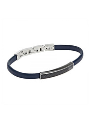 Cerruti 1881 Leather Ion Bracelet for Men, Black & Blue