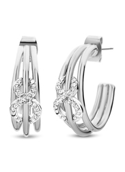 Cerruti 1881 Stainless Steel Infinity Motif Drop Earrings for Women with Diamond Stone, Silver