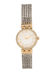 Cerruti 1881 Elettra Analog Watch for Women with Stainless Steel Band, Water Resistant, C CRWM2650, Silver-Gold/White