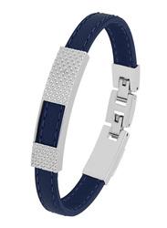 Cerruti 1881 Leather Ion Bracelet for Men, Silver & Blue