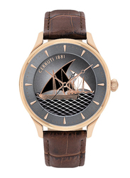 Cerruti 1881 Albiano Analog Watch for Men with Leather Band, Water Resistant, C CRWA26405, Brown-Grey