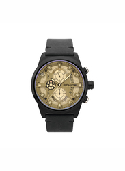 Police Chandler Leather Watch for Men, Water Resistant with Chronograph, Black-Silver, P 15383JSB-04