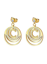 Cerruti 1881 Gold Plated Drop & Dangle Earrings for Women with Diamond Stone, Gold