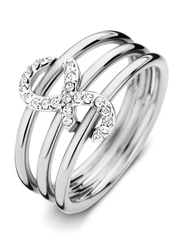 Cerruti 1881 Stainless Steel Stacking Ring for Women with Infinity Motif, Silver, EU 52