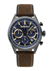 Timberland Randolph Analog Watch for Men with Leather Band, Water Resistant and Chronograph, T TBL15476JS, Dark Brown-Dark Blue