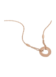 Police Comber Stainless Steel Pendant Necklace for Women, Rose Gold