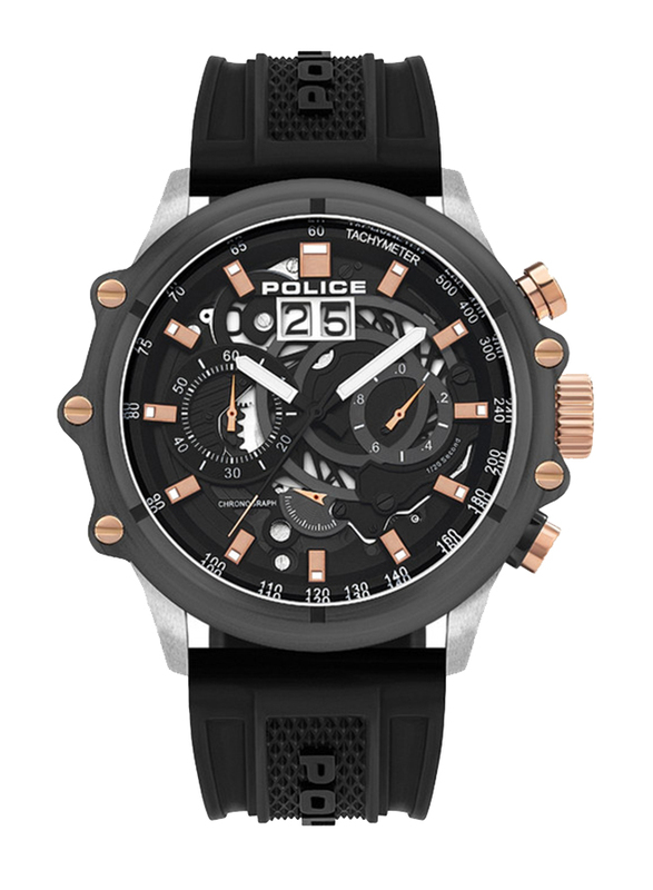 Police Luang Analog Watch for Men with Silicone Band, Water Resistant with Chronograph, P 16018JSTU-13P, Black-Grey