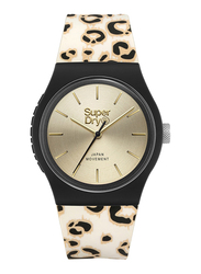 Superdry Urban Leopard Analog Watch for Women with Silicone Band, Water Resistant, T SDWSYL299GB, Beige/Black-Gold