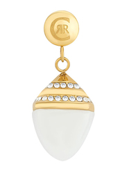 Cerruti 1881 Gold Plated Drop Earrings for Women, with Ceramic Stone and Swarovski Crystals, White/Gold