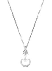 Cerruti 1881 Stainless Steel Pendant Necklace with Pearl - Imitation Stone for Women, Silver