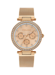 Police Mikkeli Analog Metal Watch for Women, Water Resistant, Rose Gold, P 15891MYR-32MM