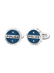 Police Mens Cufflinks, Stainless Steel, with Semicircle Design, Blue