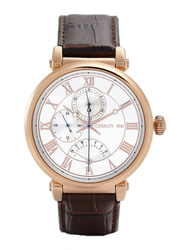 Cerruti 1881 Mezzano Analog Watch for Men with Leather Band, Water Resistant and Chronograph, C CRWA271, Brown-White