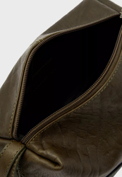 Police Tolerance Leather Toiletry Pouch for Men, Olive