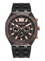Police Kediri Analog Watch for Men with Silicone Band, Water Resistant with Chronograph, P 15995JSUBN-61P, Black-Gunmetal