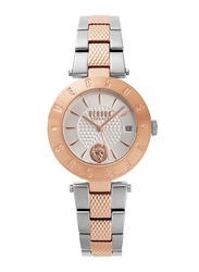 Versus Logo New Analog Watch for Women with Stainless Steel Band, Water Resistant, V WVSP77, Rose Gold-Silver