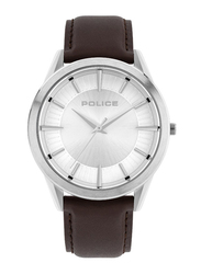 Police Patriot Analog Watch for Men with Leather Strap, Water Resistant, P 15967JS, Brown-Silver