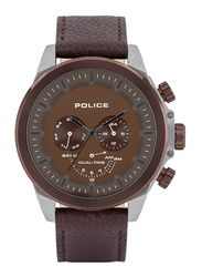 Police Belmont Analog Watch for Men with Leather Band, Water Resistant and Chronograph, P 15970JSU, Brown