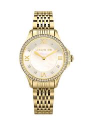 Cerruti 1881 Vignarola Analog Metal Watch for Women, Water Resistant, Gold-White, C CRWM22604
