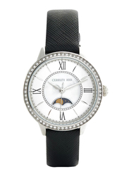 Cerruti 1881 Rosara Analog Watch for Women with Leather Band, Water Resistant, C CRWM225, Black-White