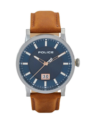 Police Collin Analog Leather Watch For Men, Water Resistant, Brown-Blue, P 15404JS-03