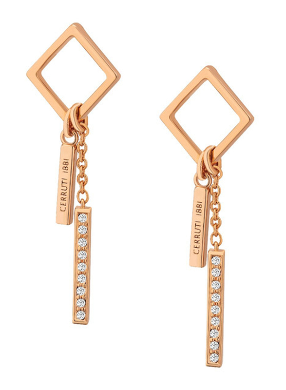 Cerruti 1881 Stainless Steel Double Pendant Dangle Earrings for Women with Diamonds Stone, Rose Gold