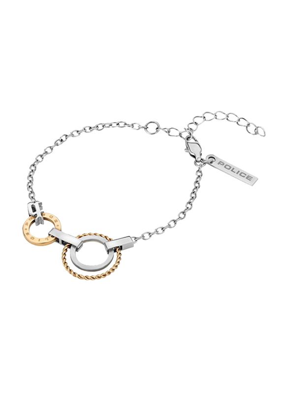Police Connected Stainless Steel Charm Necklace for Women, Gold