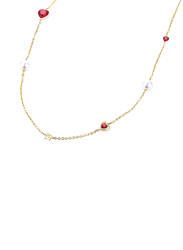 Escada Stainless Steel Charm Necklace with Swarovski Stone for Women, Gold