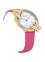 Daisy Dixon Kendall #27 Analog Watch for Women with Leather Band, Water Resistant, D DD162PG, Pink-White