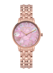 Police Chapada Analog Watch for Women with Stainless Steel Band, Water Resistant, P 15700LS, Rose Gold-Pink