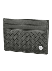 Police Weaved Leather Card Case for Men, Grey