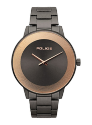 Police Sunrise Analog Watch for Men with Stainless Steel Band, Water Resistant, P 15386JSU-61M, Grey