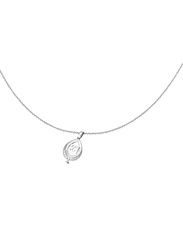 Escada Stainless Steel Pendant Necklace with Pearl - Imitation Stone for Women, Silver