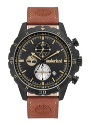 Timberland Dunford Quartz Analog Watch for Men with Leather Band, Water Resistant and Chronograph, T TBL16003JYB-02, Tan-Black