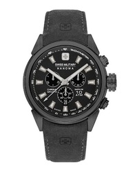 Swiss Military Hanowa Platoon Chrono Analog Watch for Men with Leather Band, Water Resistant and Chronograph, W S6-4322.13.007.07, Black