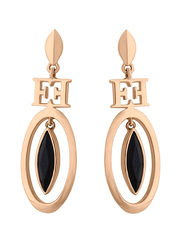 Escada Rose Gold Drop & Dangle Earrings for Women with Black Stone Stone, Rose Gold