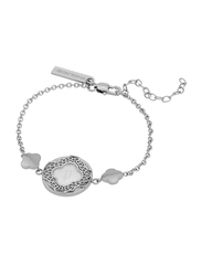 Police Spade Metal Wristband Bracelet for Women, Silver