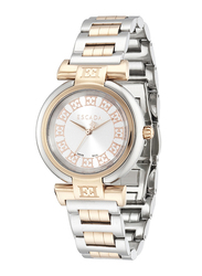 Escada Lauren Analog Watch for Women with Stainless Steel Band, Water Resistant, D EW21050, Silver/Rose Gold